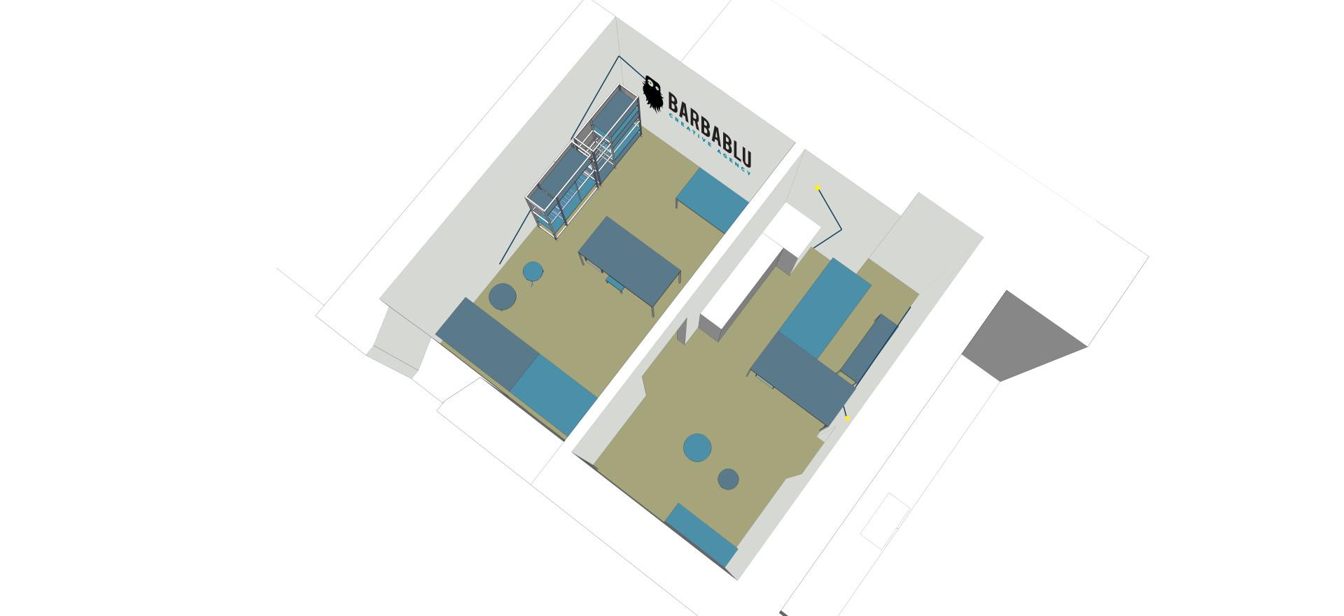 Piccola agenzia di comunicazione: proposta di design degli interni